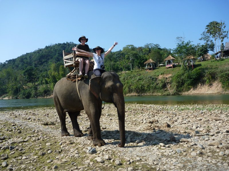 riding an elephant in Luang Prabang, Laos 27DEC10