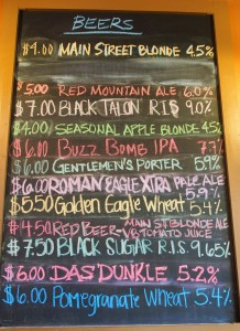 Desert Eagle Brewing's beer board of what's on tap that day.