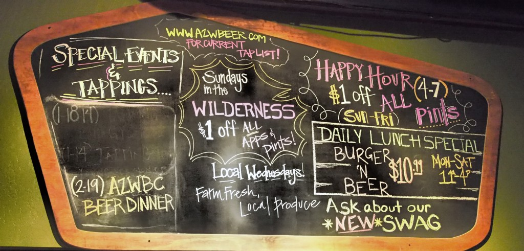 Wilderness Brewing's beers on tap board.