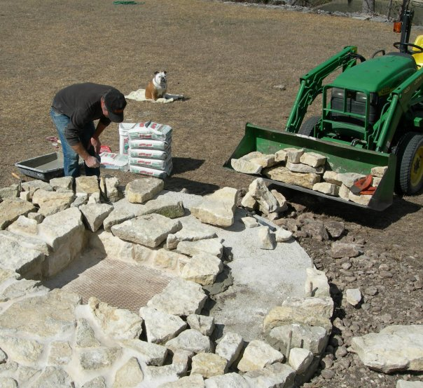 Hill Country fire pit in progress, made with indigenous stone.