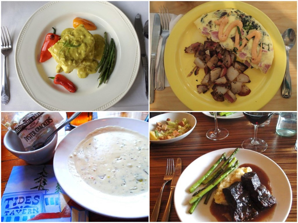 Clockwise from top: Halibut in yellow curry at The Green Turtle; Ham and peppered bacon omelet at Devoted Kiss; Barolo braised beef at Morso; 'Famous clam chowder' at Tides Tavern.