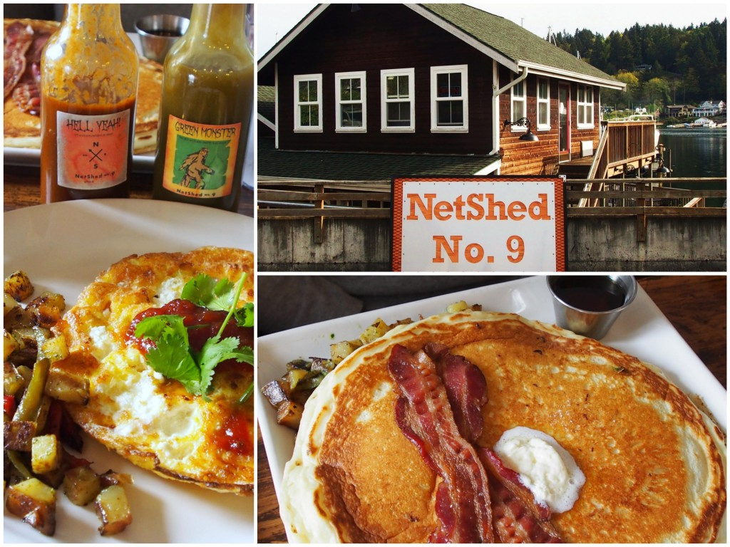 NetShed No. 9: Delicious sourdough pancakes with bacon and frittata with house hot sauces.
