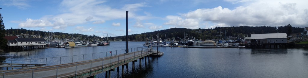Panoramic view of Gig Harbor waterfront.