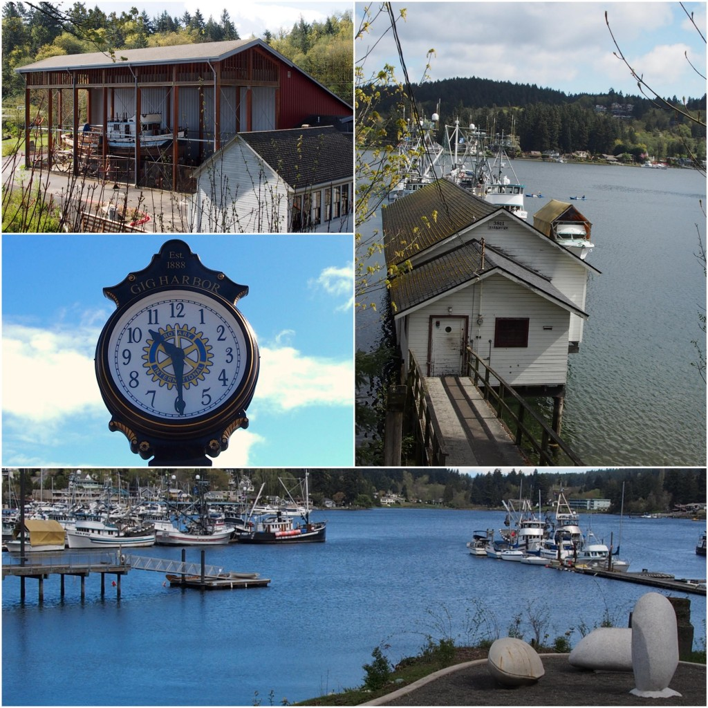 Sights seen along Waterfront Walking tour: Ship restoration, historic Gig Harbor clock downtown, working Net Shed, harbor views + granite 'Mussels' sculpture by Verena Schnippert at Eddon Boat Park.