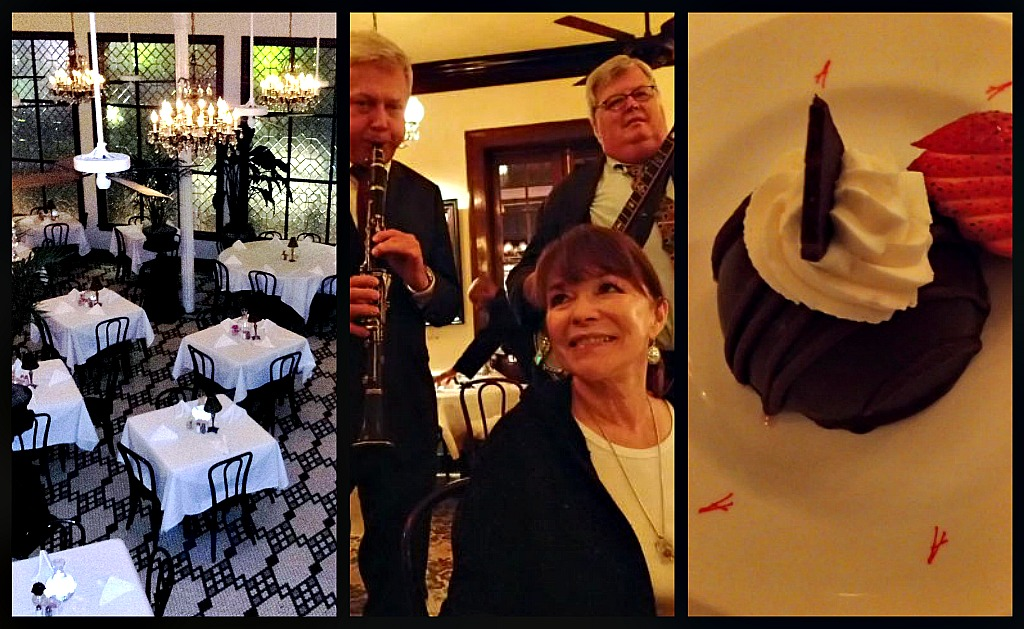 One of the 14 chandelier-lit dining rooms at Arnaud's, roving jazz musicians at dinner, Chocolate Toffee Bombe for dessert.