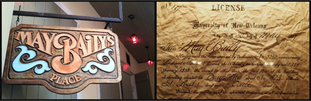From left: The notorious May Baily's Place still leaves the red lights on; original bordello license from May 1857.