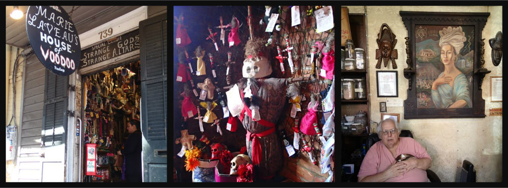 Marie Laveau's House of Voodoo; display of voodoo dolls and artifacts; New Orleans Historic Voodoo Museum.