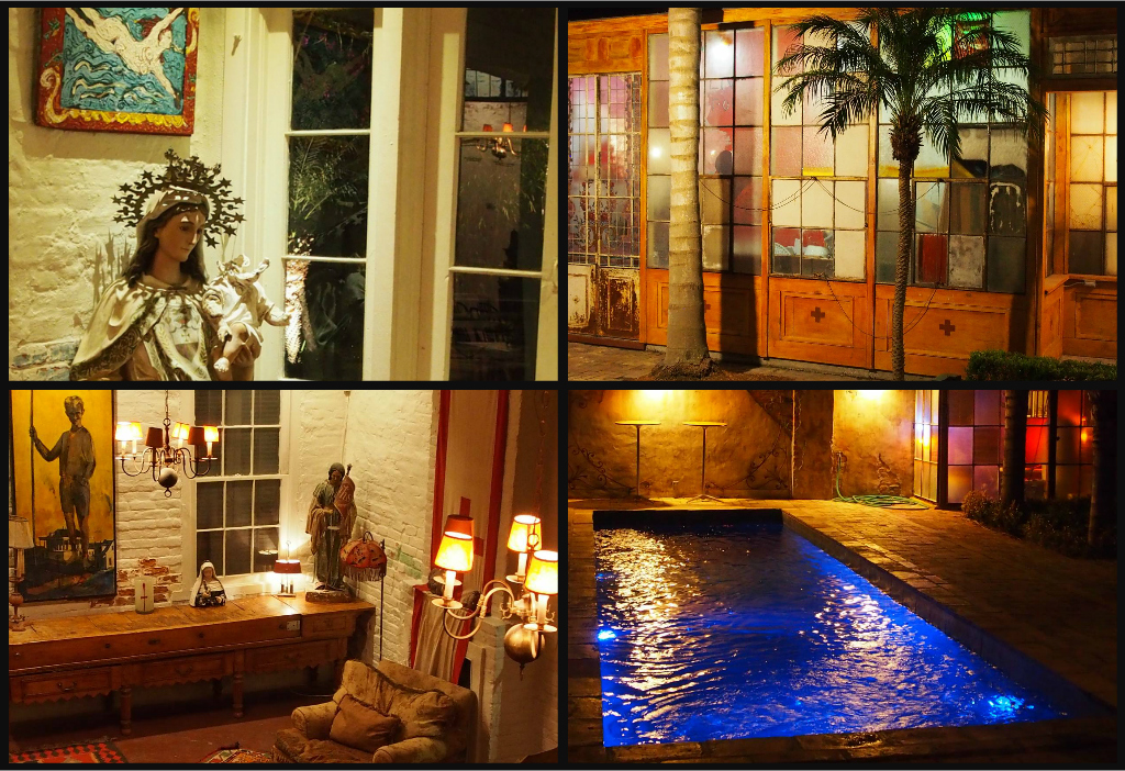 Clockwise from top left: Virgin Mary statue rescued from bulldozed Mississippi church; stained glass panels from Buenos Aires at night; religious artifacts in the Creole cottage; private swimming pool in the courtyard.